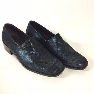 Donald J Pliner Black Blue Iridescent Loafers